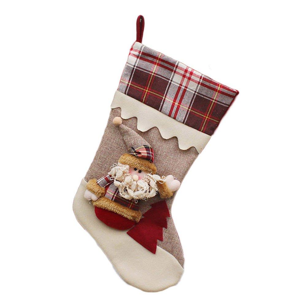 Gaosaili Plaid Border Christmas Stockings - 17'' for Christmas Decoration (H01 Santa)