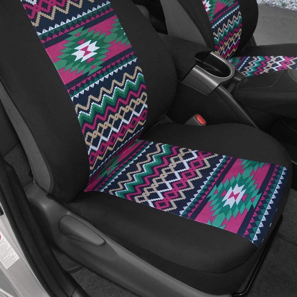 BDK Pink Inca Pattern Car Seat Covers Sideless Design for Easy Installation Universal Fit for Car Truck Van and SUV Front Seats Only Geometric Print Front Seat Cover Set with Matching Headrest
