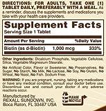 Sundown Biotin 1000 MCG Tablets Value Size, 120 Count