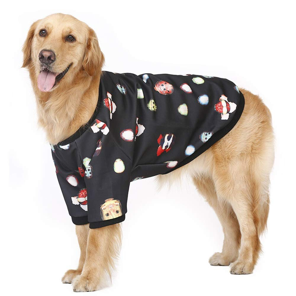 BLACK Xl BLACK Xl Pet Clothes Big Dog Clothes Dog Baseball Uniform Autumn and Winter Loaded Large Dog Labrador Jin Mao Samoyed pet Clothing (color   Black, Size   XL)