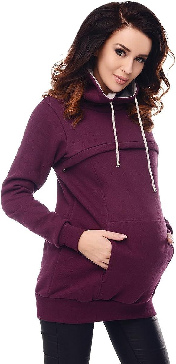 Purpless Maternity 2in1 Grossesse et Allaitement Blouse avec Un Col Haut B9054