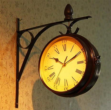Relojes de Pared Vintage, casero Creativo Retro Europeo jardín de Moda Doble Cara