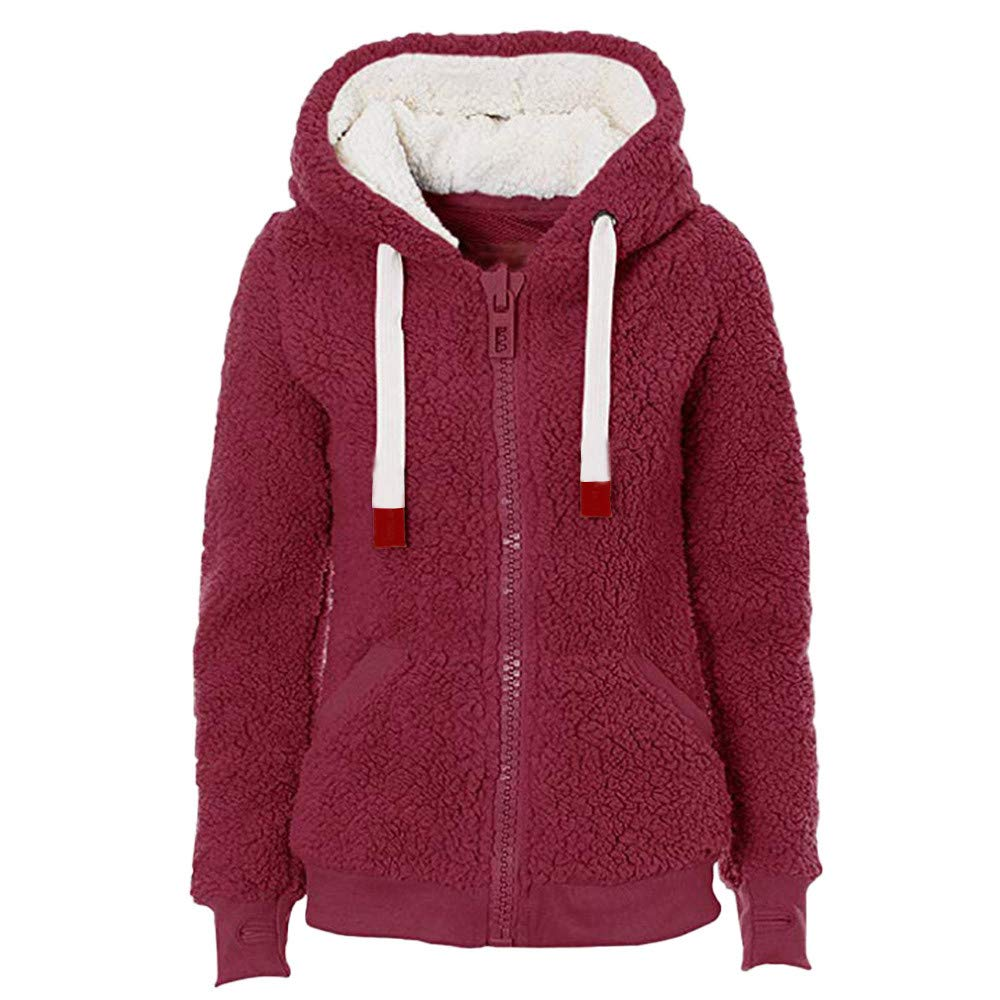 QIQIU ⭐️ Clearance! Women's Teddy Hooded Coat, Ladies Soft New Winter Warm Fashion with Pockets Jacket Outerwear QIQIU_328