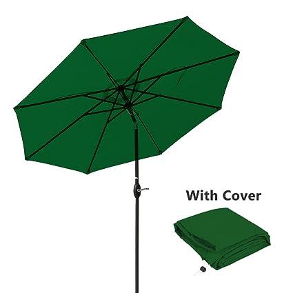 Charmant Patio Umbrella 9 Ft Aluminum Outdoor Table Market Umbrellas With Push  Button Tilt And Crank,