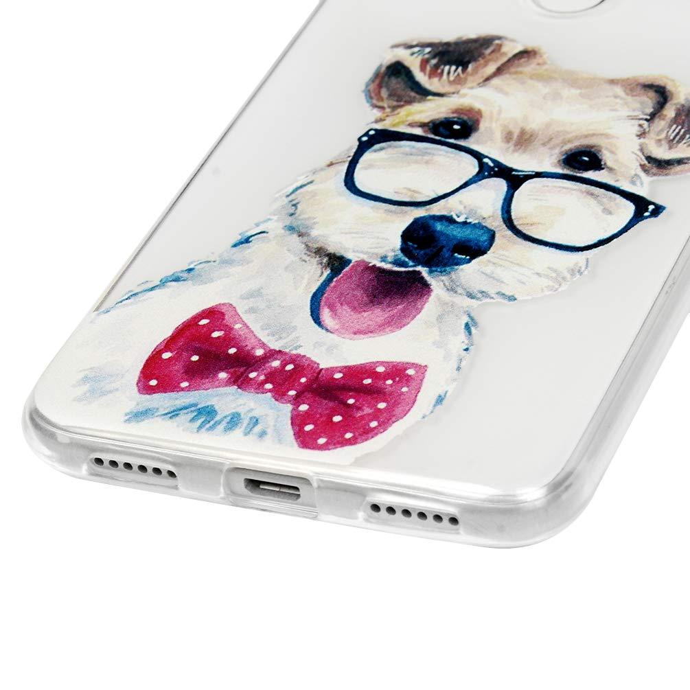 Coque Huawei P8 Lite 2017,GuardGal Silicone Housse Protection Transparente Bumper Antichoc Accessoire Gel Souple Original Case Cover Coques transparente en TPU /à motif peint pour Huawei P8 Lite 2017 Cravate de chien