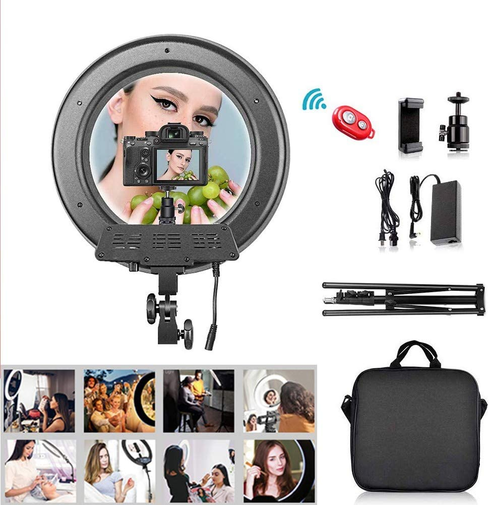Led Ring Light Kit for Live Stream MakeupAmerican specifications 18 Dimmable Selfie Light LED Video Ringlight with Hot Shoe Adapter,Phone Holder Camera Lighting Equipment Ring with Tripod Stand