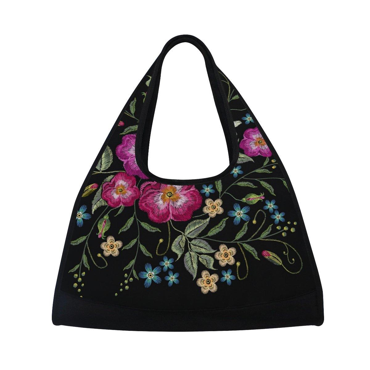Sport Gym Bag Flowers Leaf Canvas Travel Duffel Bag