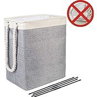 Nifogo Cubo Plegable de Lino y algodón Cesta
