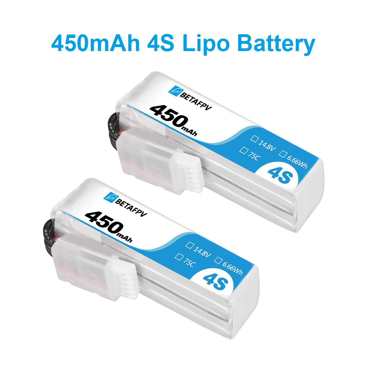 BETAFPV 2pcs 450mah 4S Lipo Battery 75C/150C 14.8V with XT30 16AWG Silicone Wire for Beta85X 4S Micro Drone