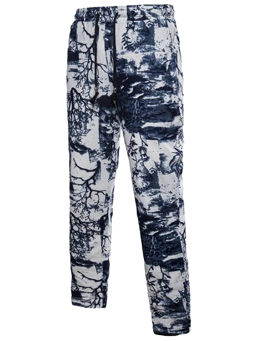 Tingwin Mens Casual Mid Waisted Straight Leg Print Party Long Pants Trousers