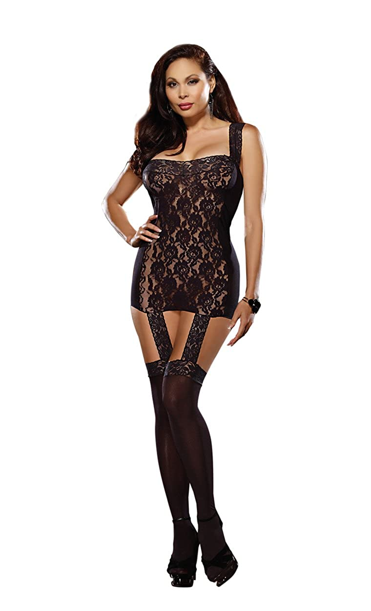 Dreamgirl Women's Plus-Size Tahiti Garter Dress With Attached Stockings Black One Size Dreamgirl International 0144X