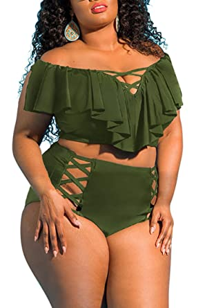 99b97eeaf56 Pink Queen Women's Ruffle Cut-Out High Waisted Swimwear Bikini Army Green XL