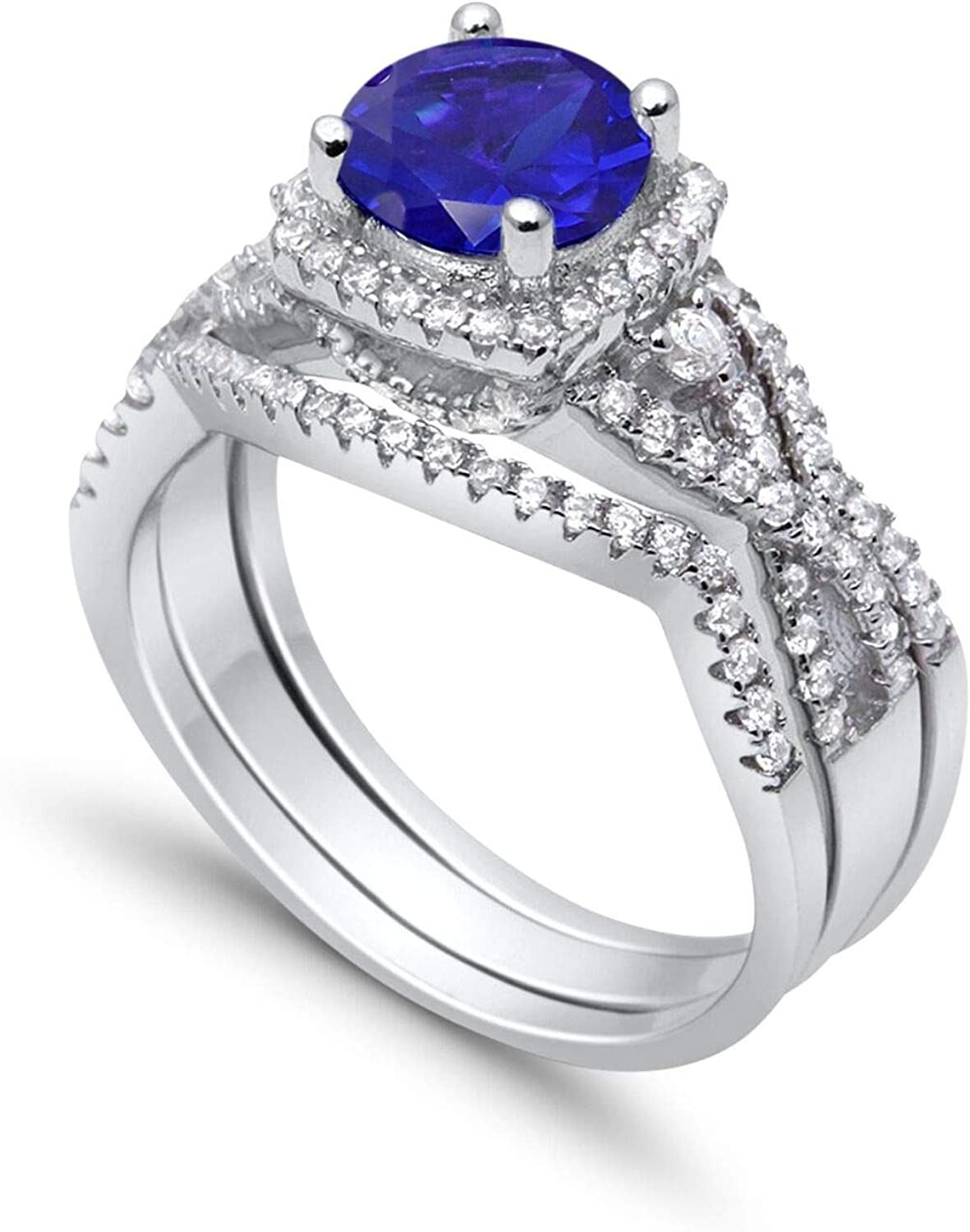Blue Apple Co. Three Piece Trio Set Wedding Ring Infinity Round Simulated Sapphire 925 Sterling Silver CZ