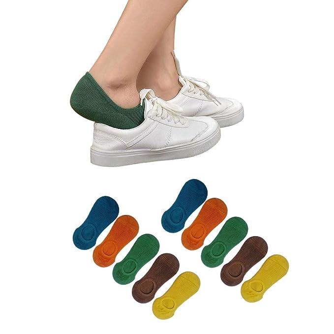 Yifen Mujeres Niñas Algodón Rico antideslizante de corte bajo calcetines invisibles para zapatos de barco Zapatillas