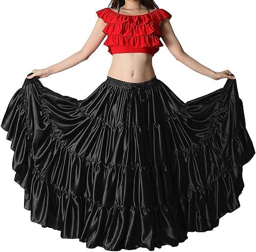 Sky Blue Satin 25 Yard 5 Tiered Gypsy Skirt Belly Dance Gothic Flamenco Black