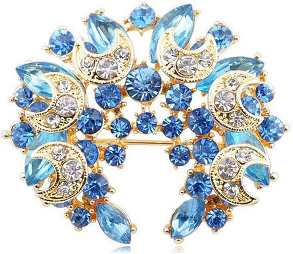 Blauer Mond BR113 Klaritta Brosche mit Kristallkranz gl/änzend