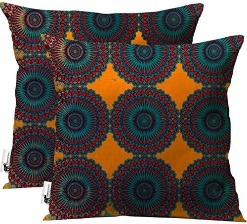 UBU Republic Boho Outdoor Pillows Set of 2 Orange 20 Inch Indoor Outdoor Pillows Moroccan Bohemian Style Decorative for Patio