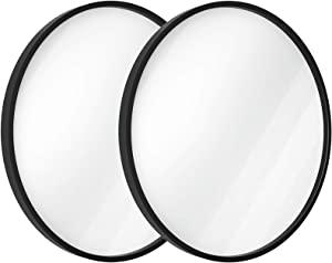USHOWER 24-Inch Black Round Wall Mirror, Large Metal Frame Decor Mirror for Bathroom, Entryway, Vanity, and More, Farmhouse & Modern Style, 2 Pack