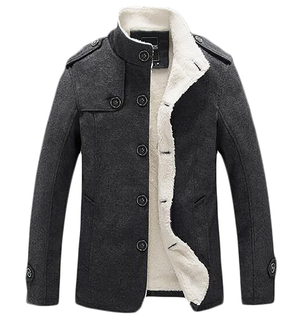 Smeiling Mens Stand Collar Blend Single Breasted Coat with Fleece Lined