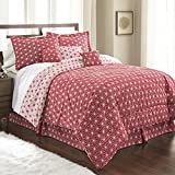 Spirit Linen, Inc Hotel 5th Ave King Crimson/White Hotel 5th Ave Galaxy Collection 7 PC Comforter Set