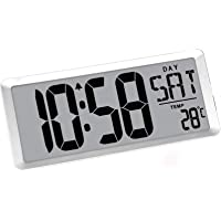 TXL 13.9 Jumbo Digital Alarm Clock Extra Large LCD Electronic Wall Clock Display 4.6 inch Digits Calendar/Temperature…
