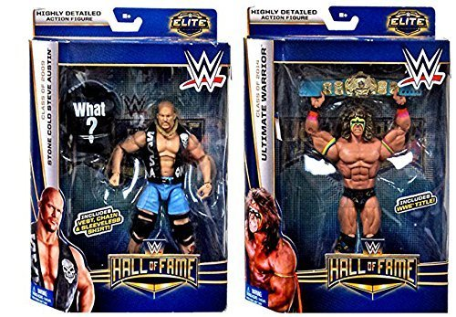 WWE Elite Collection 2 Pack Hall of Fame Exclusive Action Figure Ultimate Warrior & Stone Cold Steve Austin (Stone Cold Steve Austin Hall Of Fame Figure)