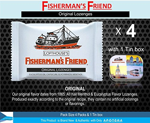 Fisherman's Friend Herbal Lozenges (Original Lozenges Pack of 4 + Mini Tin Box) Effective for Extra Strong Cough Suppressant Lozenges and Tin Box to Keep Lozenge and Collectibles Set Sore Throat Lozenges Original Mint