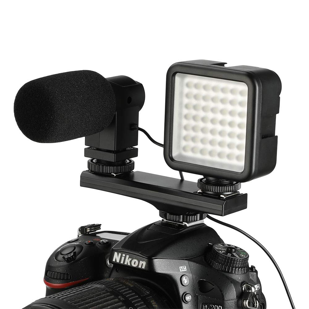 SUPON E-TTL Dual Hot Shoe Flash Speedlite Light Bracket Compatible for Canon Cameras and Other LED Video Light,Microphone,Monitor,Flash Speedlite,Camcorder,Photo Studio