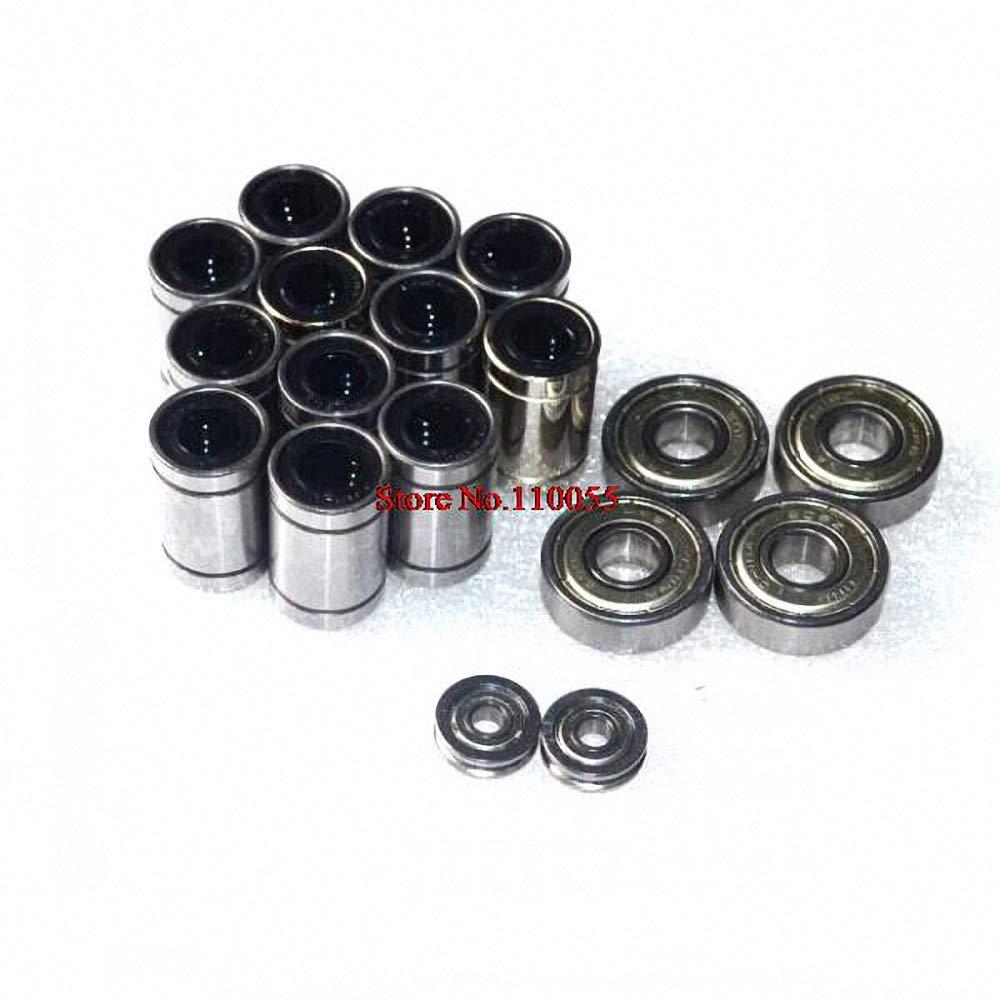 4pcs 608zz Ball-Bearing 12pcs LM8UU 8mm Linear Ball-Bearing 2pcs U-Groove Guide Wheel for 3D-Printer