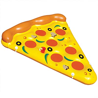 Inflatable Giant Rideable Pizza Slice Float Toy - Floatie Ride On Blow Up Summer Fun Pool Toy Lounger Floatie Raft for Kids & Adults: Toys & Games