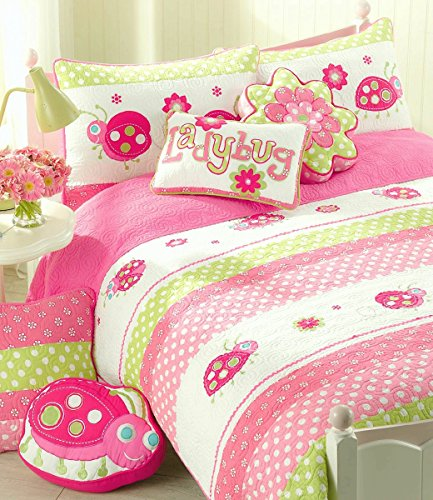 Ladies Machine Embroidered Quilt - Cozy Line Home Fashions Pink Ladybug Lemongrass Green Dot Fuchsia Flower Embroidered Pattern Bedding Quilt Set, 100% Cotton Bedspread Coverlet Gift for Kids Girls (Ladybug, Queen - 3 Piece) …
