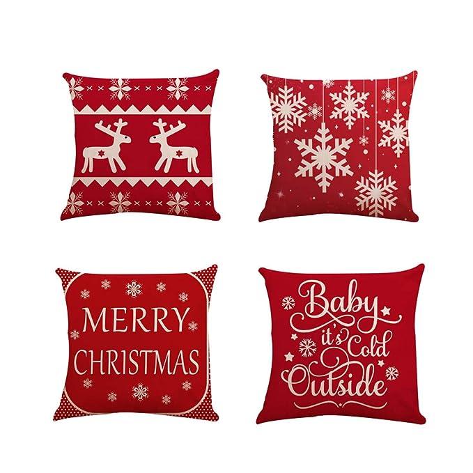 Fundas Cojines de Navidad 4 Pieza, Patrón de Copo de Nieve Ciervo Merry Christmas Funda de Cojines 45x45 Navidad Decoracion para Hogar Casa Sofa ...