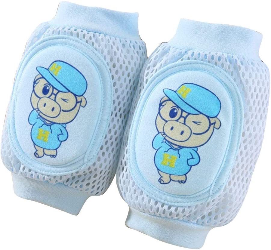 BeesClover Children Knee Pads Baby Breathable Mesh Sponge Crawling Shatter-resistant Elbow Protective Gear blue 0-6 years old
