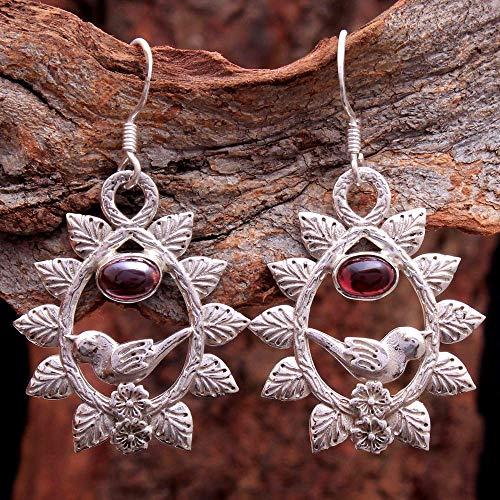 Adorable Red Garnet Gemstone Drop & Dangle Earrings 925 Sterling Silver Jewelry Vintage Silver Dangle Earrings Antique Earring