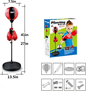 paipaitoys Punching Bag for Kids Boxing Set Includes Kids Boxing Gloves and Punching Bag, Standing Base with Adjustable Stand + Hand Pump - Top Gifting Idea for Boys and Girls Ages 3-14 Years Old
