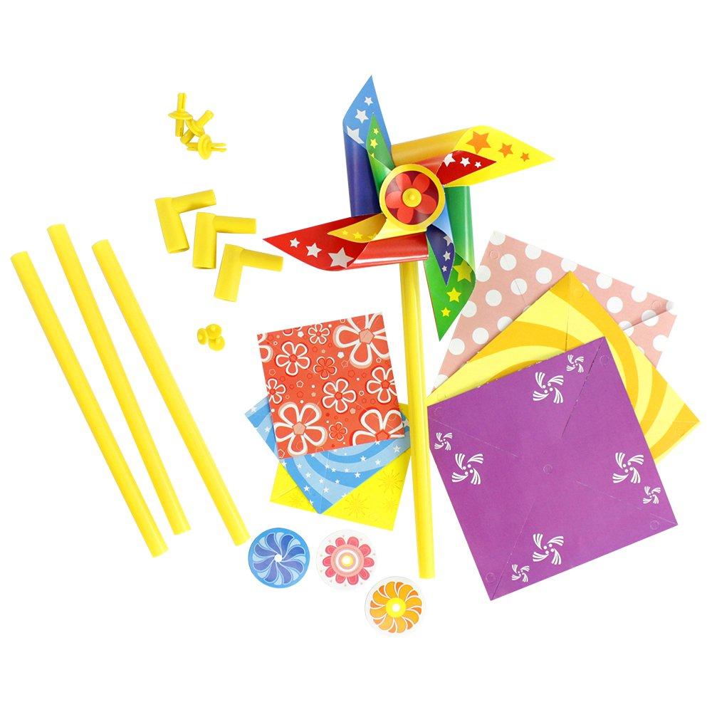 com-four® Windrad Bastelset, für Kinder und Erwachsene, Lassen Sie Ihrer Kreativität Freien Lauf (1 Stück)