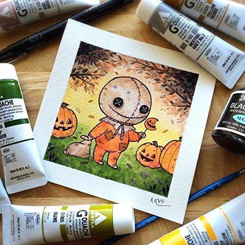 Cute Halloween Horror Sam Print Watercolor Print by Michelle -