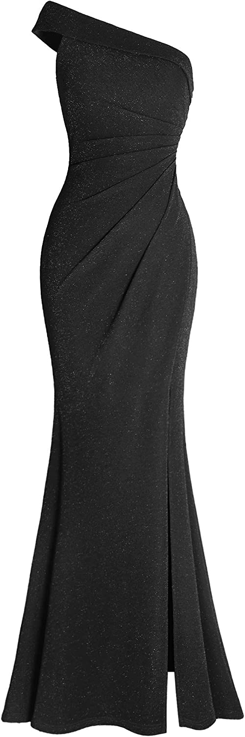 Fazadess Women's Ruched One Shoulder Side Split Evening Party Dress