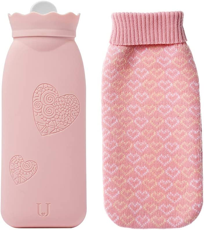 Jordan & Judy Hot Water Bottle, Cute Bag Warmer, Silicone Heating Pad with Knit Cover Hot & Cold Therapies Back Pain - Gift for Girlfriend, Mother, Valentine's Day,L(Pink)