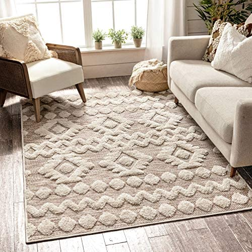 Well Woven Cenar Beige Flat-Weave Hi-Low Pile Diamond Medallion Stripes Moroccan Tribal Area Rug 8×10 7'10″ x 9'10″