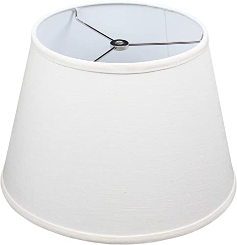 FenchelShades.com Lampshade 9 Top Diameter x 13 Bottom Diameter x 9 Slant Height with Washer Spider Attachment for Lamps with a Harp Designer Linen Off White