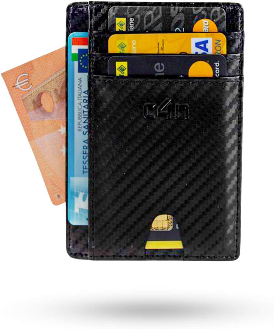 Cartera CASH4NEXT™ Slim-portatarjetas de crédito para hombre y mujer, protección RFID, blanda, anticlonación, fibra de carbono, tarjetero, tarjetas de ...