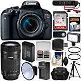 Canon EOS Rebel T7i Digital SLR Camera & 18-55mm + 55-250mm is Lens is STM Video Creator Kit + RODE Mic + 32GB Card + Case + LED Light + Battery Kit
