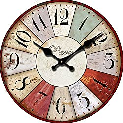 GK Silent Wall Clock?Vintage Clock European Retro Vintage Handmade Decorative Wall Clock?Bedroom Kitchen Living Room Gifts Silent Wooden Wall Clock Home Decor,10inch 23CM