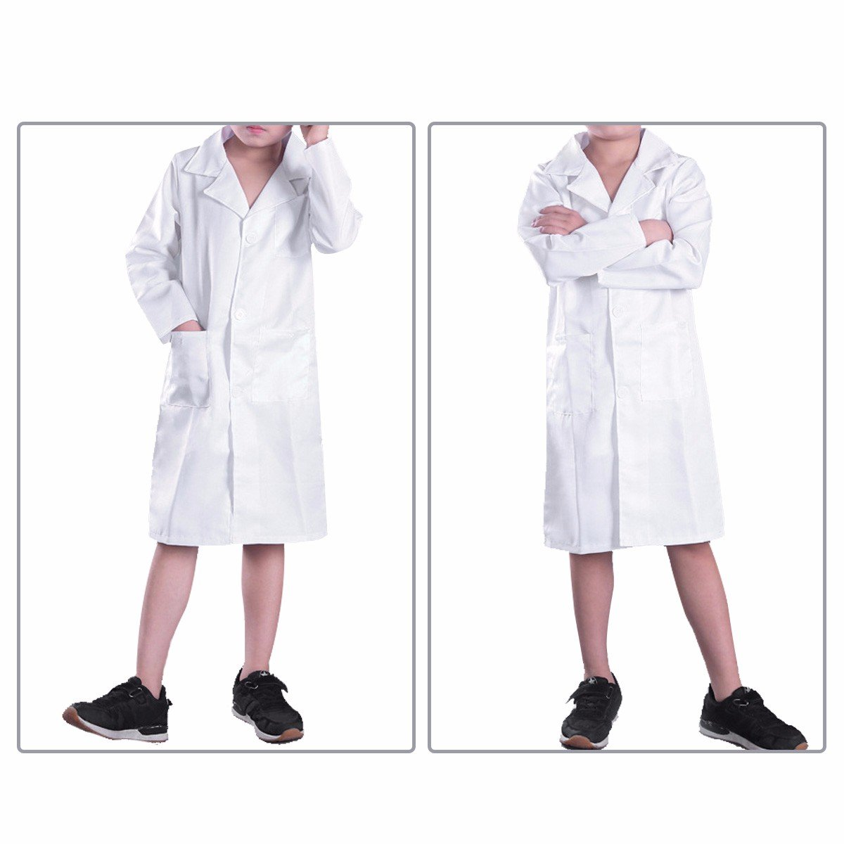YiZYiF Childrens Boys Girls Lab Coat Laboratory Uniform Doctor Fancy Cosplay Dress up Costume White 10-12