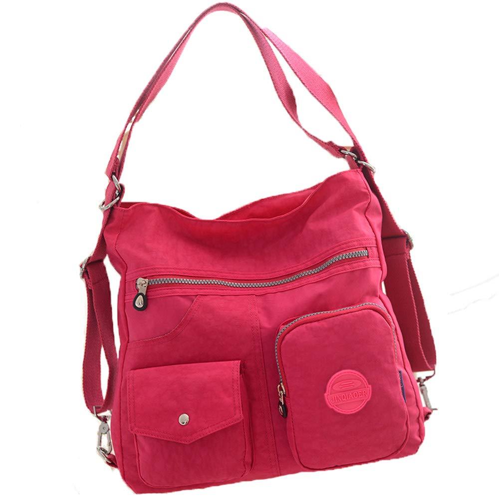 大容量多機能レディースバックパック、ナイロン防水おむつバッグファッションミイラバッグ、シングルショルダーバッグ斜めパッケージ watermelon red  B07QSR2197