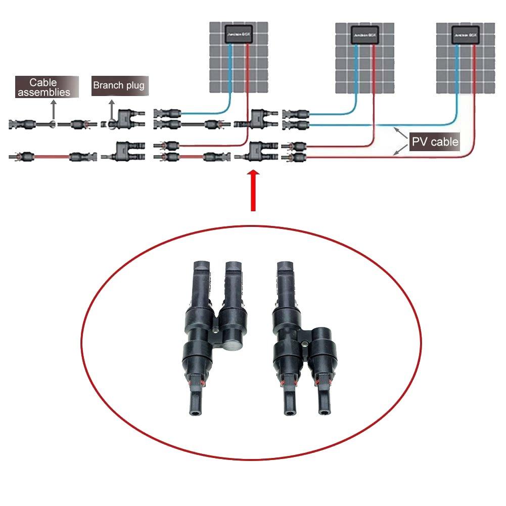 Vikocell 5 Paia Cavo Solari Connettori MC4 per Montaggio Pannello Solare Fotovoltaico