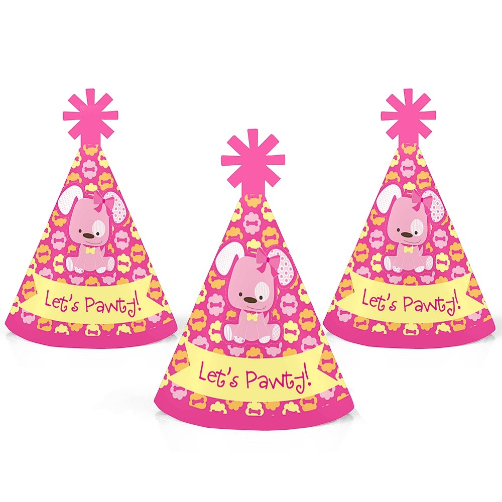 Big Dot of Happiness Girl Puppy Dog - Mini Cone Baby Shower or Birthday Party Hats - Small Little Party Hats - Set of 10