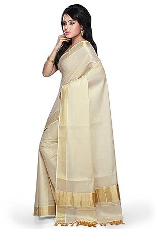 4e0d02e6a0 fashionkiosks Women's Cotton Saree With Blouse Piece (4005_Cream):  Amazon.in: Clothing & Accessories