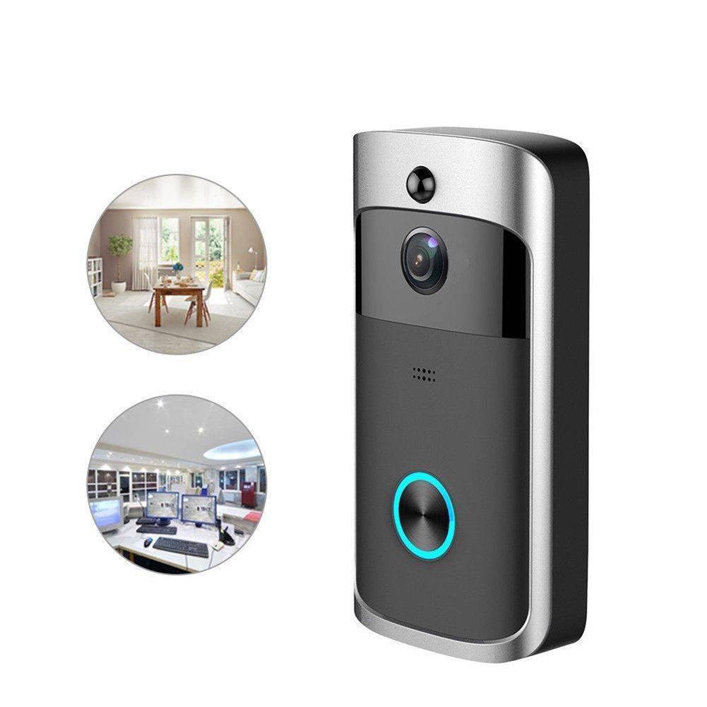 Smart Wireless WiFi Sicherheit DoorBell Smart Professionelle Video-Telefon-Tür Visual Recording, Zwei-Wege-Anruf, Noise Cancellation, Nachtsicht, Schwarz.
